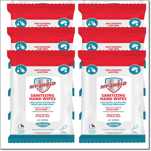 My Shield Sanitizing Wipes - 20 Count (Travel Pack) - MSHW20CT