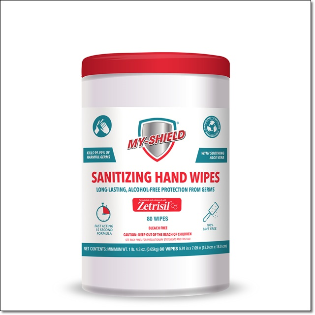 My Shield Sanitizing Wipes - 80 Count (Canister) alcohol free hand sanitizing wipes, zetrisil, my-shield, my shield hand wipes, Zetrisil sanitizing hand wipes, 80 count canister hand wipes
