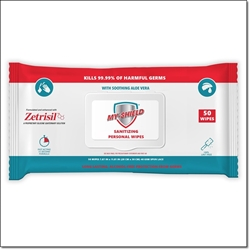 My Shield Sanitizing Wipes with Zetrisil - 50 Count (Soft Pack) alcohol free hand sanitizing wipes,zetrisil,my-shield,my shield hand wipes, Zetrisil sanitizing hand wipes, travel pack