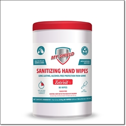 My Shield Sanitizing Wipes with Zetrisil - 80 Count (Canister) alcohol free hand sanitizing wipes,zetrisil,my-shield,my shield hand wipes, Zetrisil sanitizing hand wipes