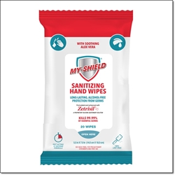 My Shield Sanitizing Wipes with Zetrisil - 20 Count (Travel Pack) alcohol free hand sanitizing wipes,zetrisil,my-shield,my shield hand wipes, Zetrisil sanitizing hand wipes, travel pack